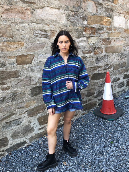 Vintage Oversized Long Sleeve Stripe Shirt
