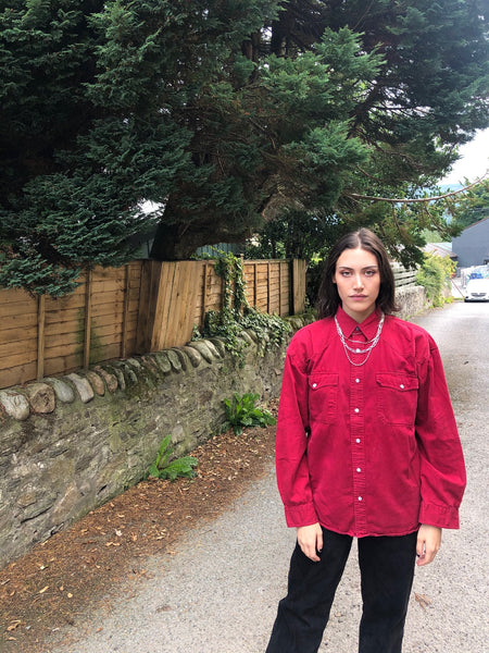 Vintage 90s Unisex Soft Denim Oversized Shirt Red