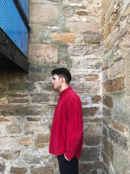 Vintage Cord / Corduroy Unisex Ribbed Oversized Shirt Red