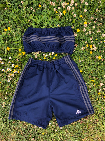 Vintage Reworked Adidas 3 Stripes Tracksuit Tube Top & Shorts Two Piece Set / Co-Ord Navy Blue