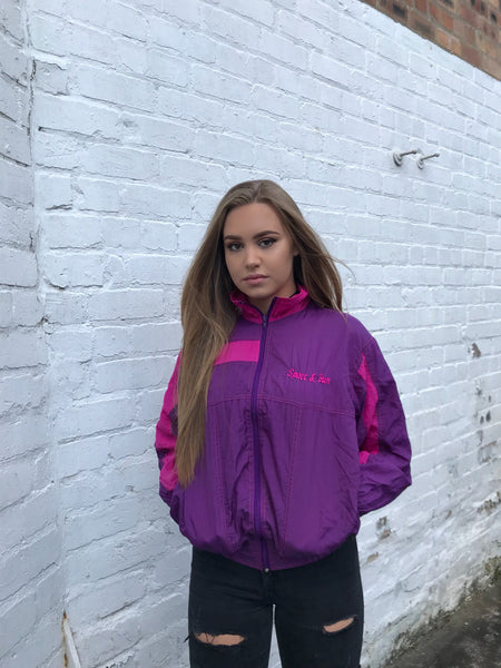 Vintage Unisex Retro Oversized Windbreaker Pink & Purple Shell Jacket