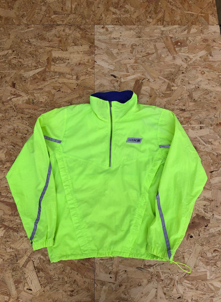 Vintage Nike Windbreaker Oversized Colourful 3/4 Zip Shell Jacket Pullover Neon Yellow/Green
