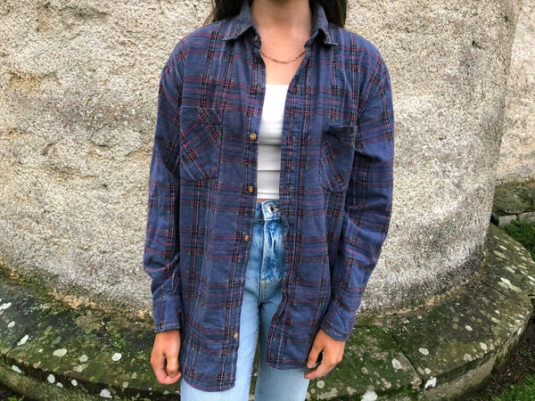 Vintage Checked Plaid Oversized 90's Flannel Shirt Purple