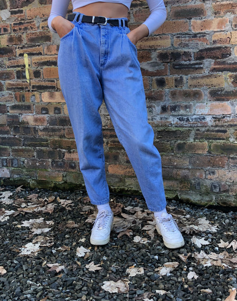 Vintage High Waisted Mom Jeans Denim Blue