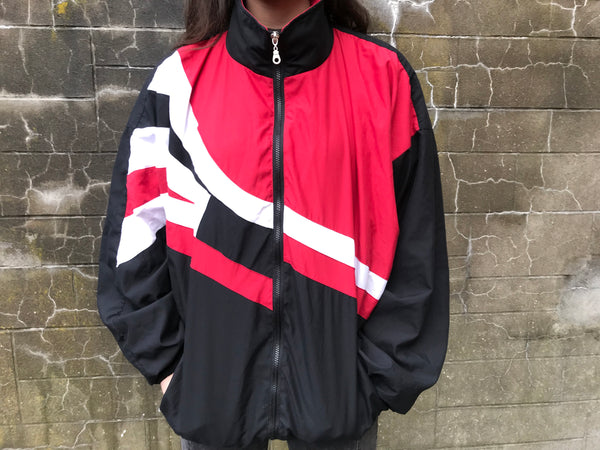 Vintage Unisex Retro Oversized Festival Windbreaker Shell Jacket Red & Black