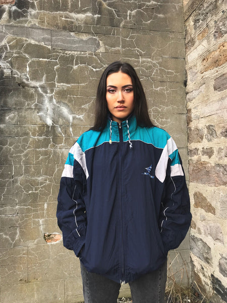 Vintage Unisex Windbreaker Oversized Shell Jacket Blue
