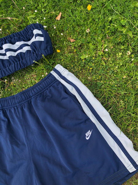 Vintage Reworked Nike Tracksuit Tube Top & Shorts Two Piece Set / Co-Ord Navy Blue & White