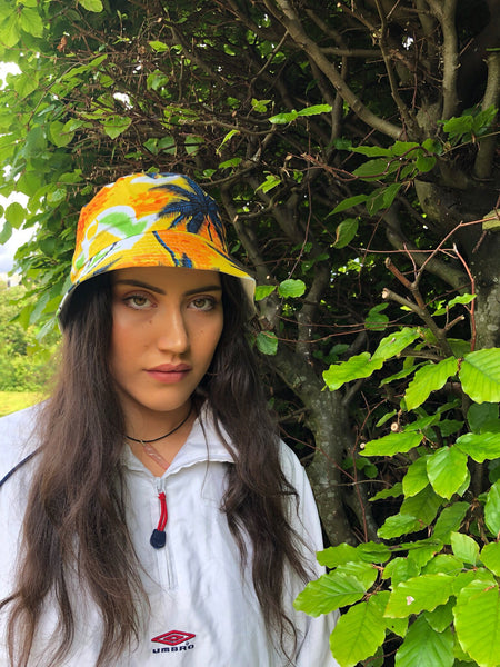 Love Route Unisex Festival Hawaiian Bucket Hat Yellow