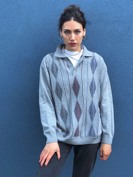 Vintage Argyle Diamond Print Collared Sweatshirt Knitted Jumper Sweater Long Sleeve Shirt Grey