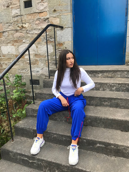 Vintage Unisex Baggy Tracksuit Bottoms Shell Suit Trousers Blue