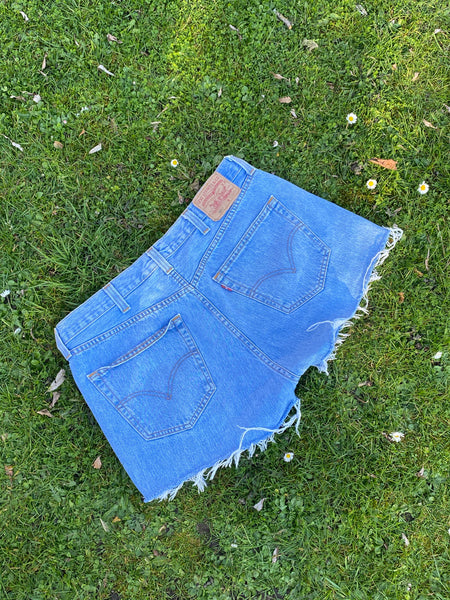 Levi's 501 Vintage 90s High Waisted Denim Shorts Blue - W38