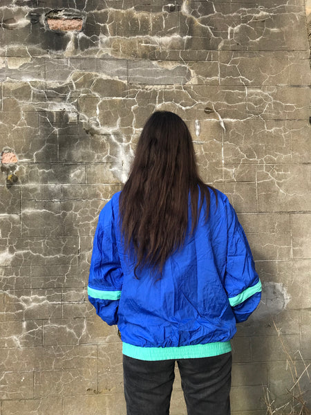 Vintage Unisex Windbreaker Wavy Oversized Shell Track Jacket Blue