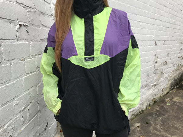 Vintage Unisex Oversized Pullover Windbreaker Shell Half-Zip Jacket