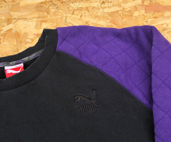 Vintage Puma Embroidered Unisex Jumper / Sweatshirt Purple & Black