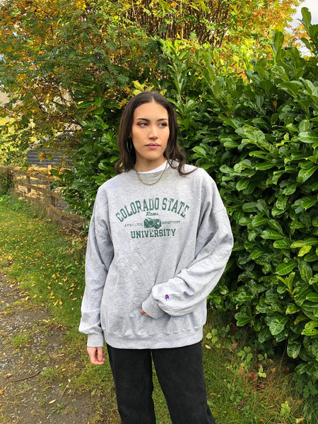 Vintage Champion USA Graphic Print Unisex Sweatshirt / Jumper / Sweater Grey & Green