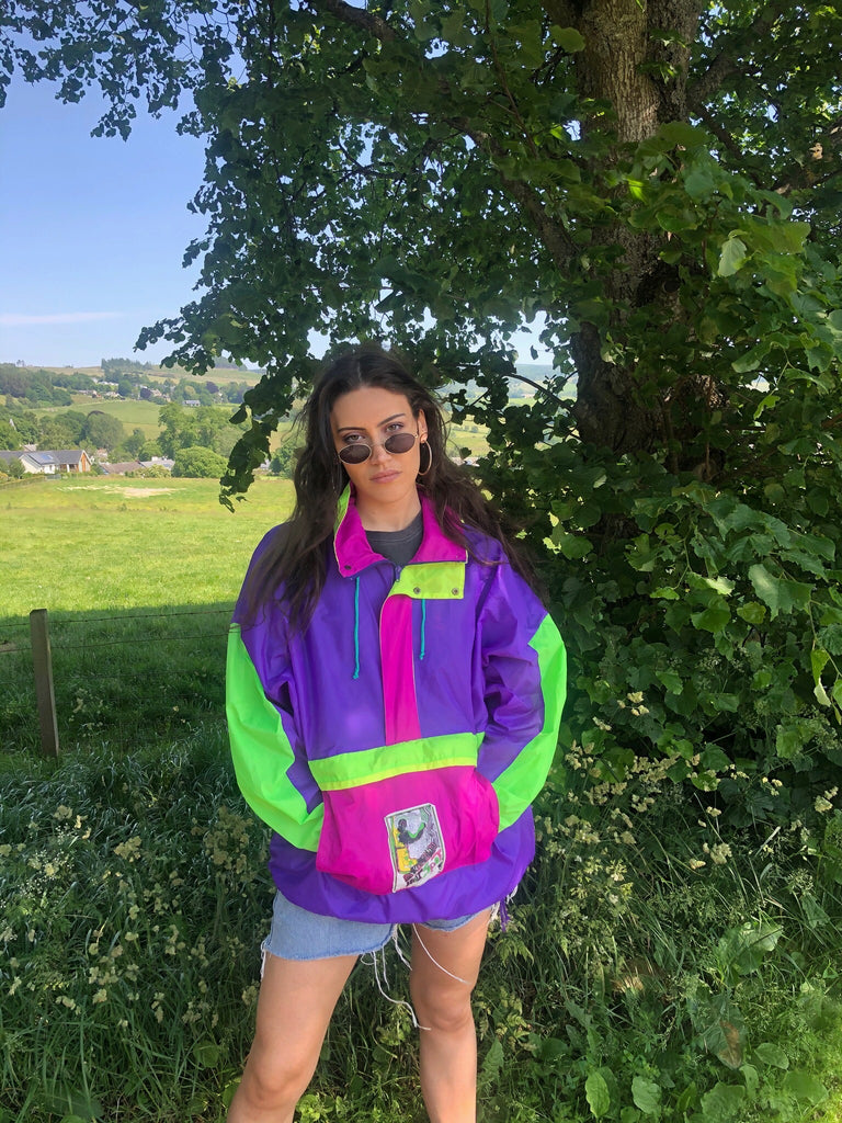 Vintage Windbreaker Unisex Oversized Festival Colourful Half Zip / 1/2 Zip Shell Jacket Rain Coat Pullover