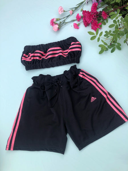 Vintage Reworked Adidas 3-Stripes Tracksuit Tube Top & Shorts Two Piece Set Black & Baby Pink