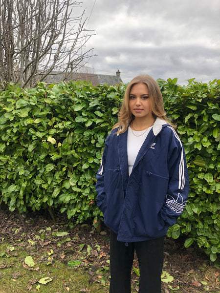 Vintage Adidas Originals 3 Stripes Unisex Oversized Hooded Padded Puffer Jacket Blue & White
