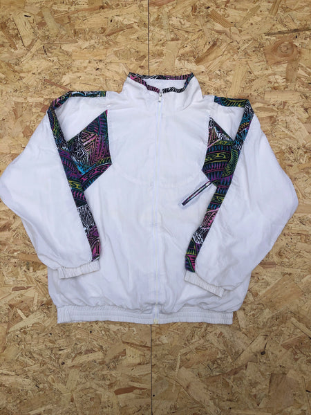 Vintage Unisex Retro Oversized Windbreaker Festival Shell Jacket White