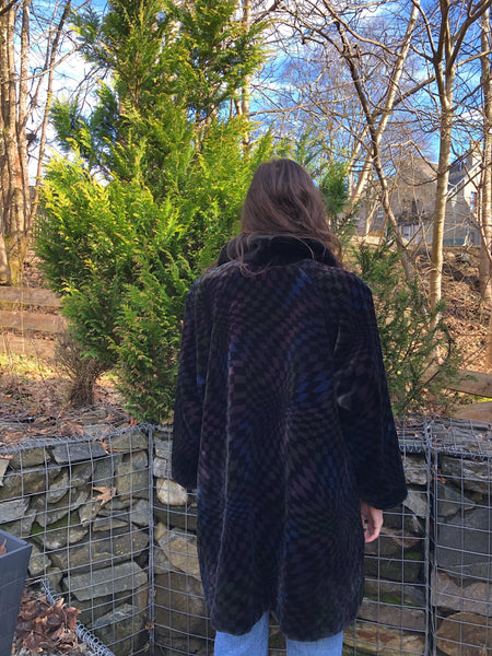 Vintage RARE Oversized Patterned Soft Faux Fur Long Coat / Jacket Black
