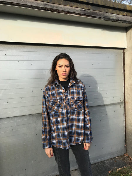 Unisex Vintage Checked Oversized 90's Flannel Shirt Brown