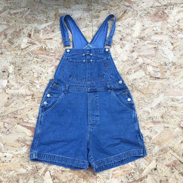 Vintage 90s Denim Dungaree Shorts / Dungarees / Overalls Blue