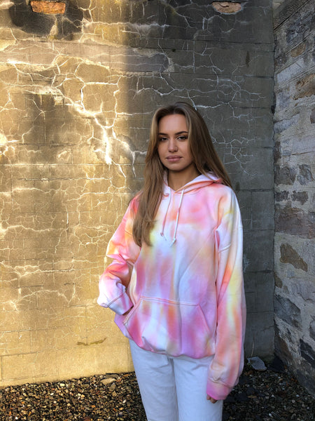 Love Route Tie Dye Colourful Unisex Hooded Sweatshirt / Hoodie