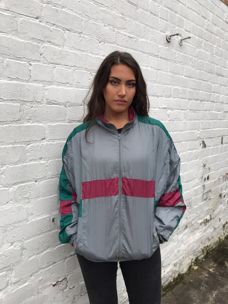 Vintage Unisex Oversized Windbreaker Shell Jacket Grey & Red
