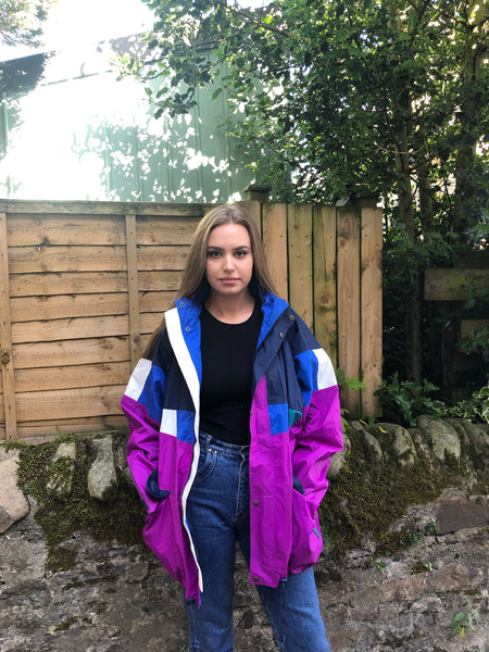 Vintage Windbreaker Unisex Oversized Festival Colourful Shell Jacket Rain Coat Purple