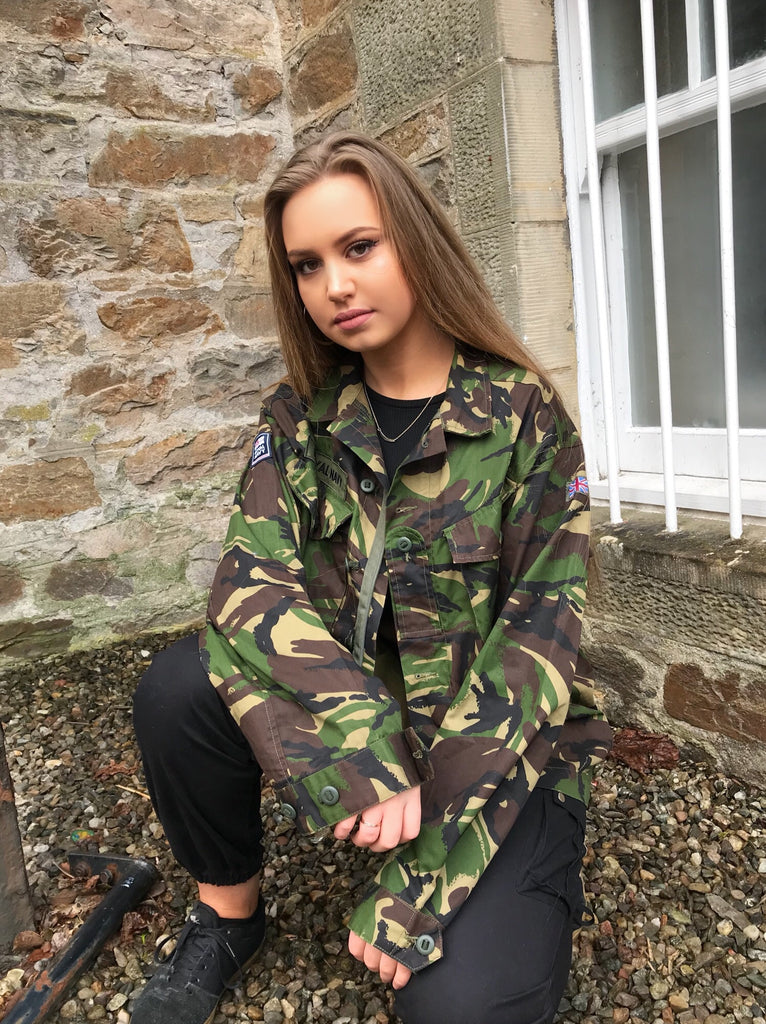 Vintage Oversized Unisex Army Camo Jacket Green