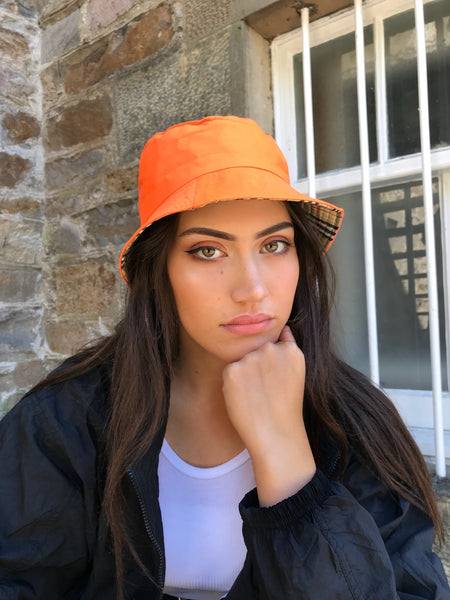 Love Route Unisex Reversible Bucket Hat Orange/Beige Check