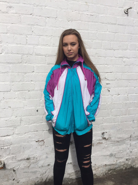 Vintage Retro Colourful Unisex Windbreaker Shell Jacket Bomber
