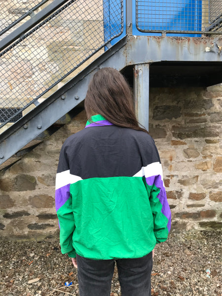 Vintage Colourful Unisex Wavy Oversized Windbreaker Shell Jacket Green
