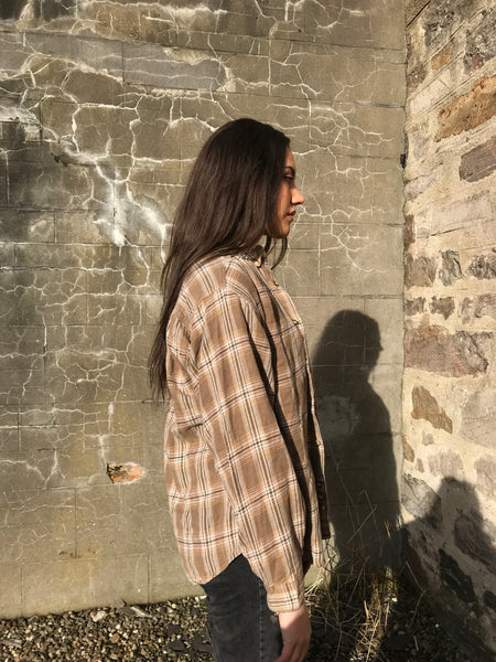 Unisex Vintage Checked Oversized 90's Beige Flannel Shirt