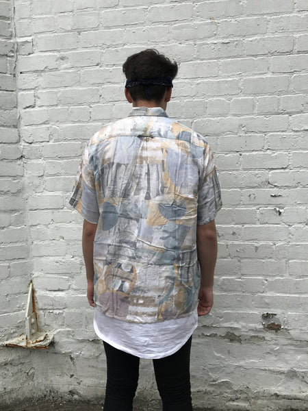 Unisex Vintage Crazy Patterned Short Sleeve Shirt