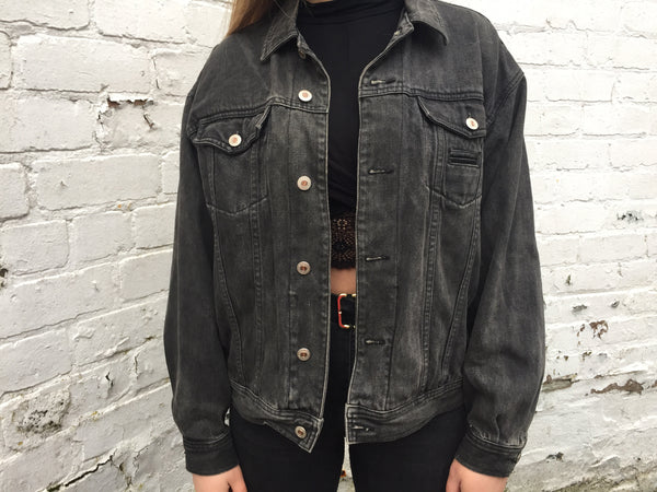 Vintage Embroidered Rolling Stones Unisex Denim Jacket Black