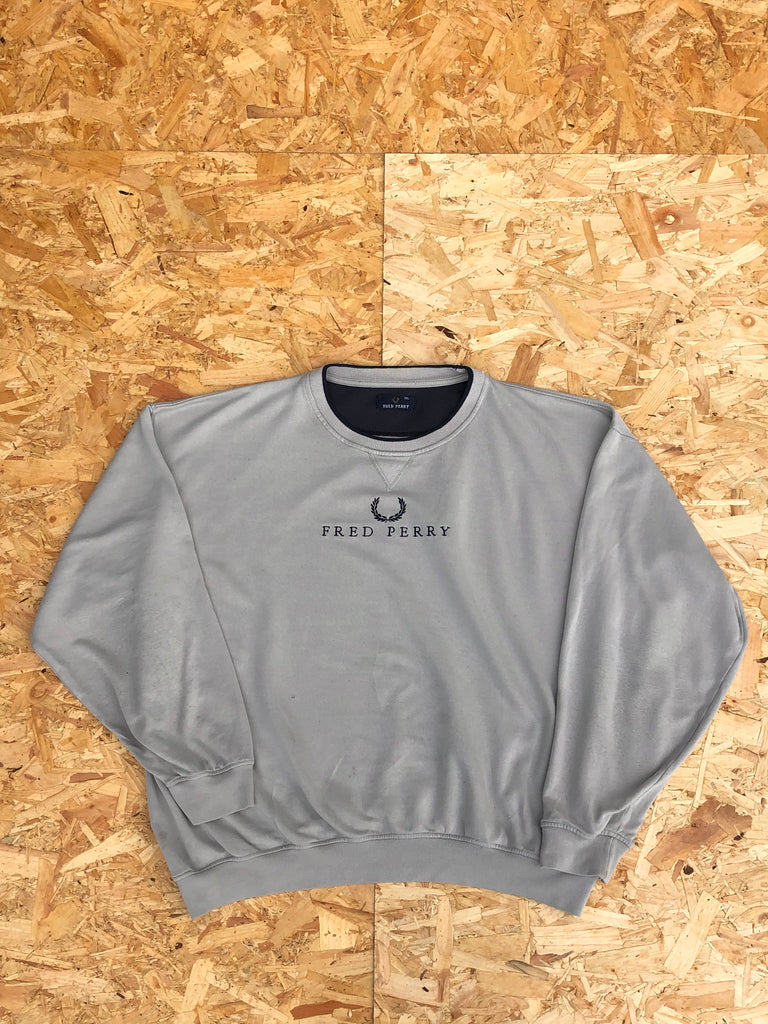 Vintage Fred Perry Spell Out Unisex Oversized Sweatshirt / Jumper / Sweater Beige