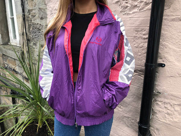 Vintage Sergio Tacchini Unisex Retro Oversized Windbreaker Festival Shell Jacket Purple