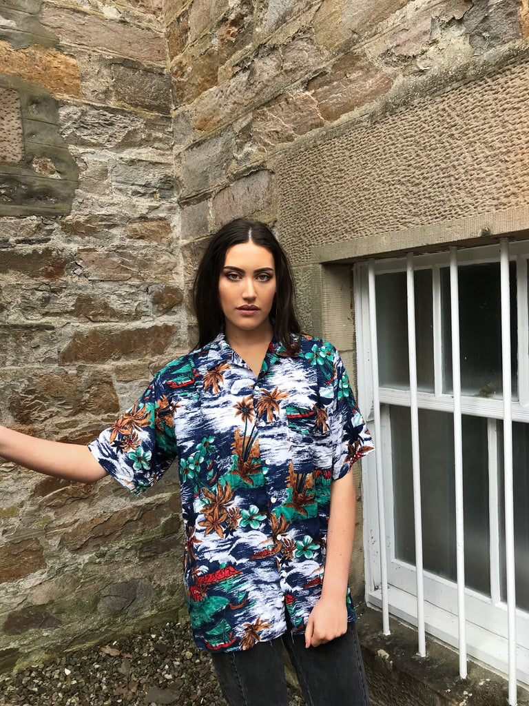 Vintage Hawaiian Crazy Print Colourful Unisex Short Sleeve Shirt