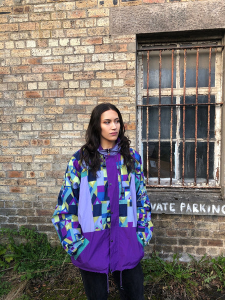 Vintage Windbreaker Unisex Oversized Crazy Patterned Shell Jacket Purple