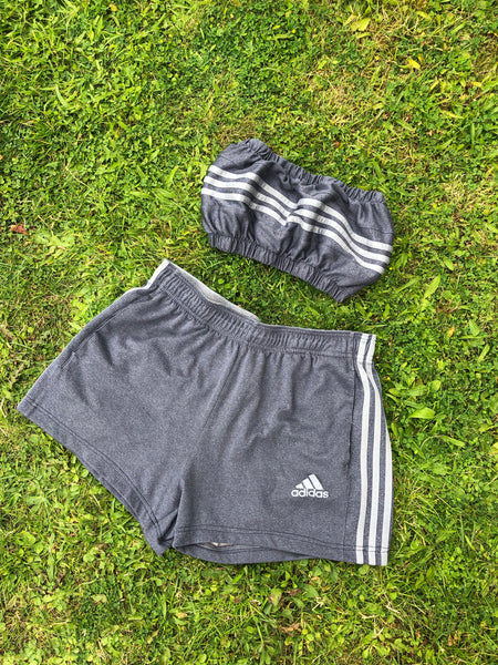 Vintage Reworked Adidas 3-Stripes Tracksuit Tube Top & Shorts Two Piece Set Grey