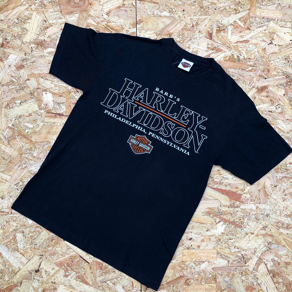 Vintage Harley Davidson Oversized Graphic T Shirt / Tee Dark Navy