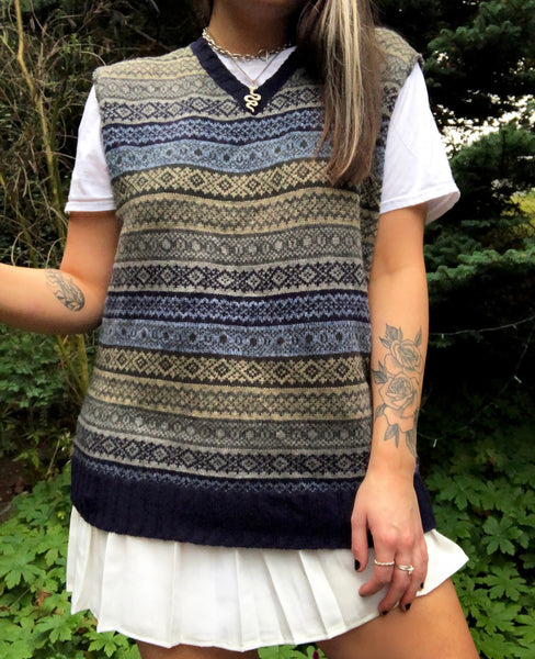Vintage Patterned Sleeveless Oversized Knitted Vest / Sweater Vest