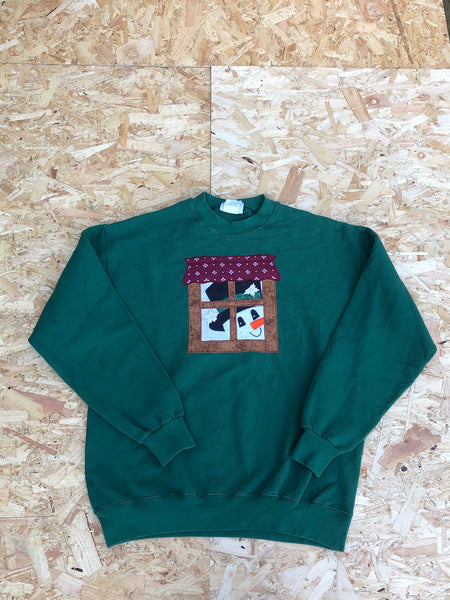 Vintage Christmas Unisex Graphic Print Sweatshirt / Jumper / Sweater Green