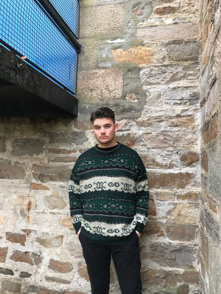 Vintage Patterned Knitted Grandad Jumper Green