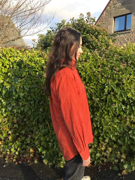 Vintage 90s Cord / Corduroy Unisex Ribbed Oversized Shirt Burnt Orange