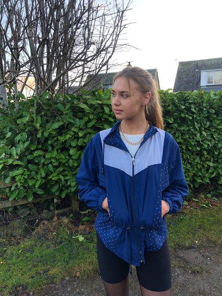 Vintage Windbreaker Unisex Oversized Patterned Shell Jacket Blue