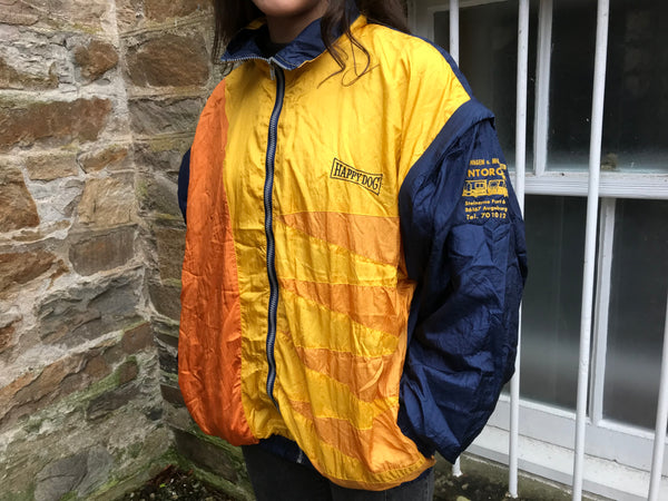 Vintage Unisex Retro Oversized Windbreaker Festival Shell Jacket Yellow & Navy