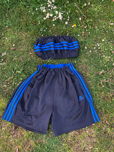 Vintage Reworked Adidas 3-Stripes Tracksuit Tube Top & Shorts Two Piece Set / Co-Ord Grey & Blue