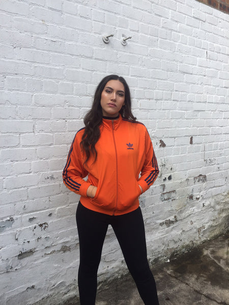 Vintage Adidas Originals Unisex Track Jacket 3-Stripes Bomber Orange